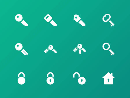 Key icons on green background. Vector
