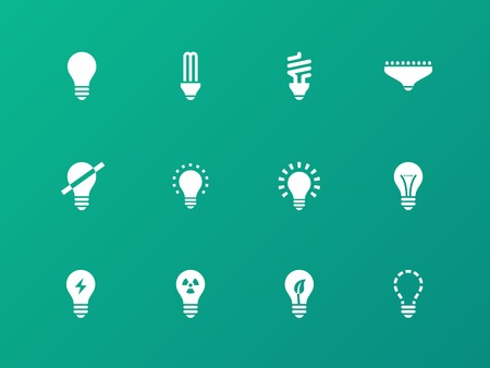 compact fluorescent lightbulb: Light bulb and CFL lamp icons on green background.