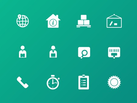 Logistics icons on green background. Vector
