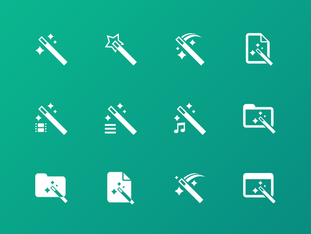 magic trick: Magician icons on green background.