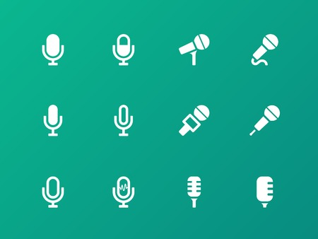 podcasting: Microphone icons on green background.