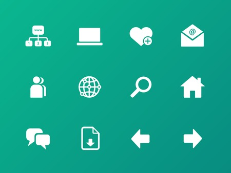 Network icons on green background. Vector