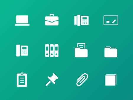Office icons on green background. Vector