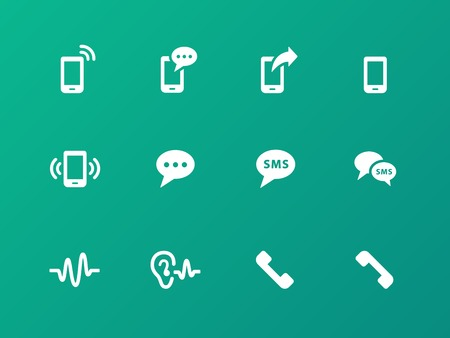 icon phone: Phone icons on green background. Illustration