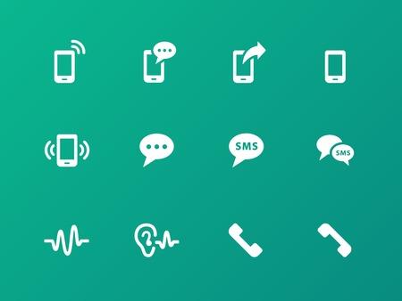Phone icons on green background. Illustration