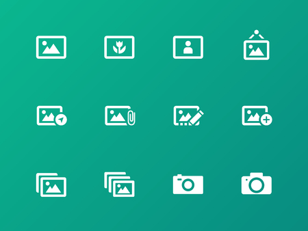 Photographs and Camera icons on green background. Vector