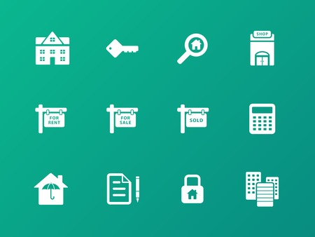 showcase interior: Immobili icone su sfondo verde. Vettoriali