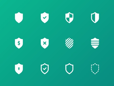 protection symbol: Shield icons on green background.