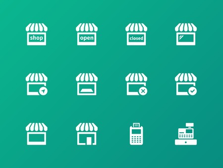 Shop icons on green background. Vector