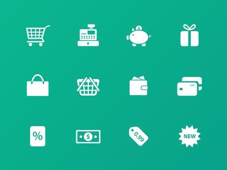 maquina registradora: Iconos de las compras en fondo verde.