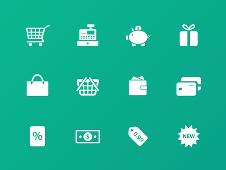 Shopping icons on green background. Vector