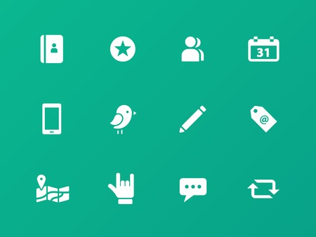 Social icons on green background. Vector
