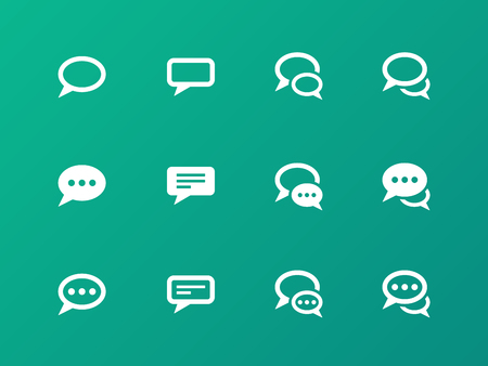 talking: Speech bubble icons on green background.