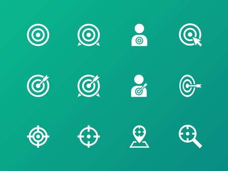 Target icons on green background. Vector