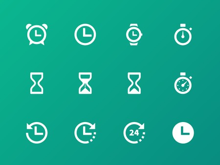 sand watch: Time and Clock icons on green background.