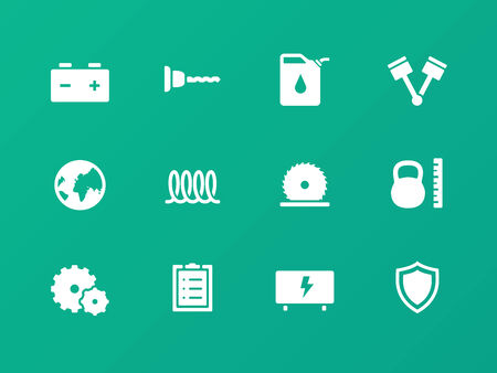 Tools icons on green background. Vector
