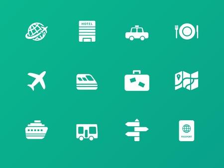 bag of soil: Travel icons on green background. Illustration