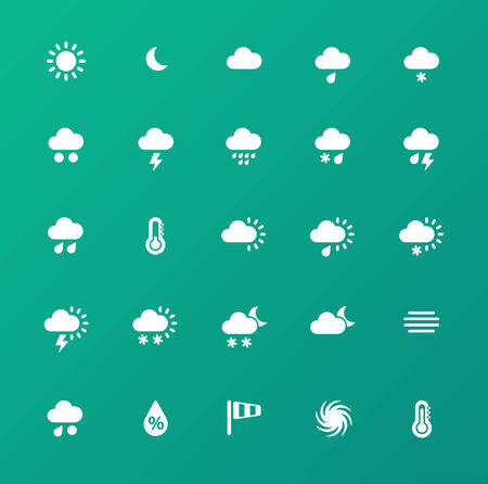 blizzards: Weather icons on green background.