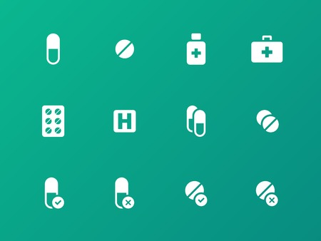Pills, medication icons on green background. Vector