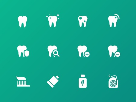 tooth paste: Tooth, teeth icons on green background.