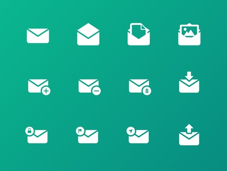 Email icons on green background. Vector