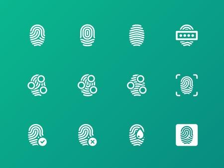 Finger authorization icons on green background. Illustration