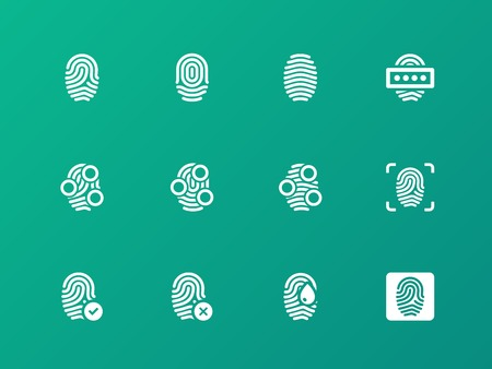 authorization: Finger authorization icons on green background. Illustration