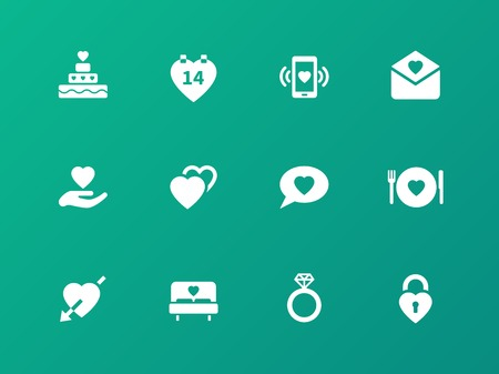 marriage bed: Love icons on green background.
