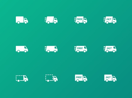 Delivery Trucks icons on green background. Vector