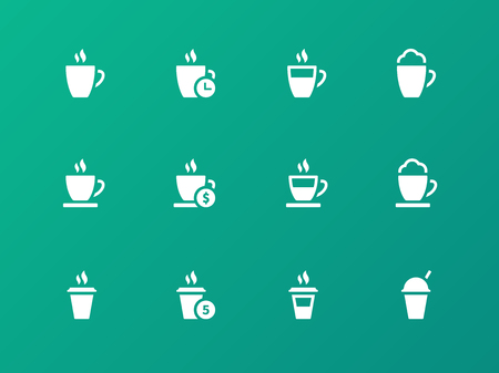 Vector set of coffee cup on green background icons. Vector