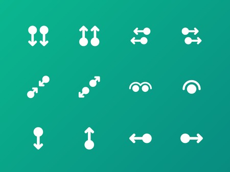 Simple touch pad gestures icons on green background. Vector