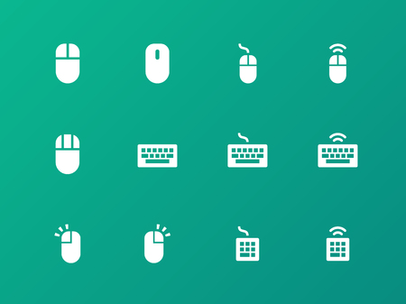 num: Mouse and Keyboard icons on green background. Illustration
