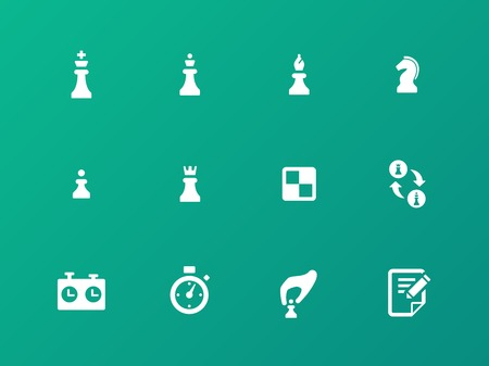 Chess strategy icons on green background. Vector