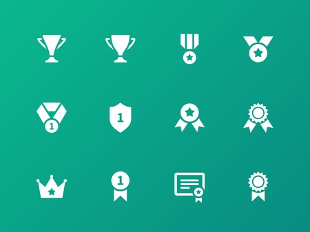 Awards icons on green background.