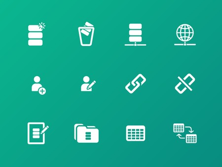 Database icons on green background. Vector