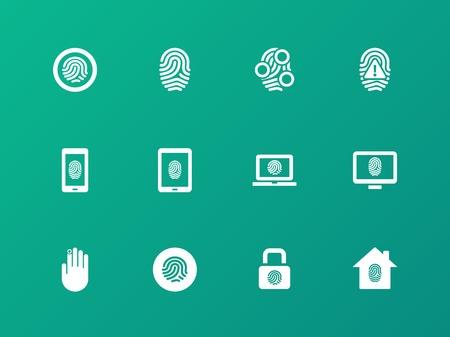 Security fingerprint icons on green background. Illustration