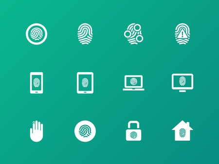 dentification: Security fingerprint icons on green background. Illustration