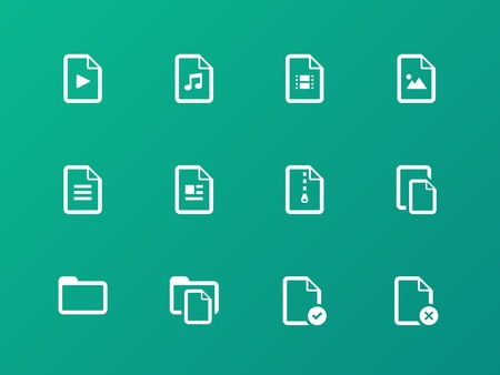 txt: Set of Files icons on green background.