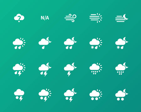 Weather icons on green background. Vector
