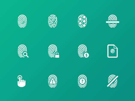 safeness: Fingerprint protection icons on green background.