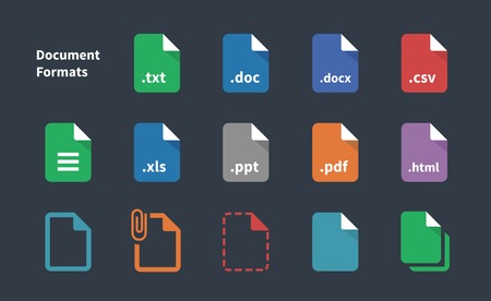 Set of Document File Formats icons. Vettoriali