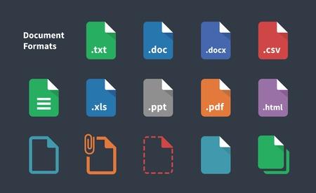 Set van Document bestandsformaten iconen.
