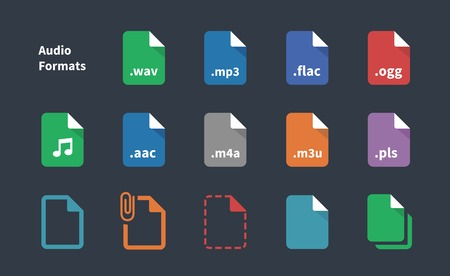 extension: Set of Audio File Extension icons. Illustration