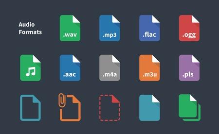 wav: Set of Audio File Extension icons. Illustration