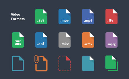 formats: Set of Video File Formats icons. Illustration