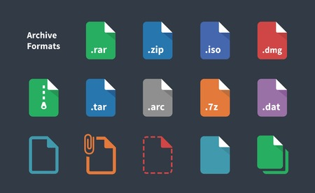 Set of Archive File Formats icons. Vector