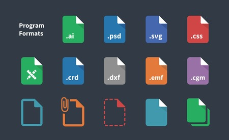 svg: Set of Program File Formats and Labels icons.