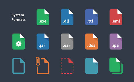 dos: Set of System File Formats icons.