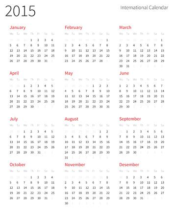 internationally: European 2015 year vector calendar. Illustration