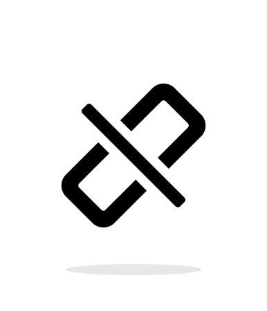 cadena rota: Enlace roto simple icono en el fondo blanco.